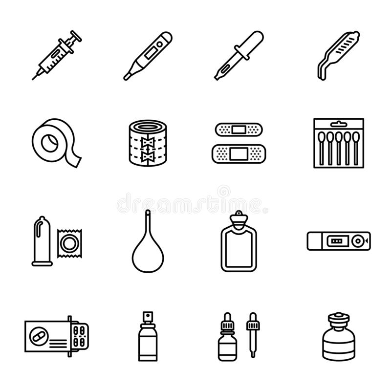 Medicine and drugs icon set. Line style stock vector. royalty free illustration