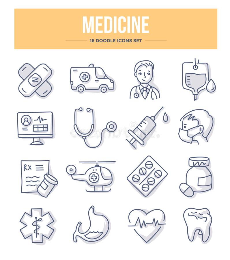 Medicine Doodle Icons royalty free illustration