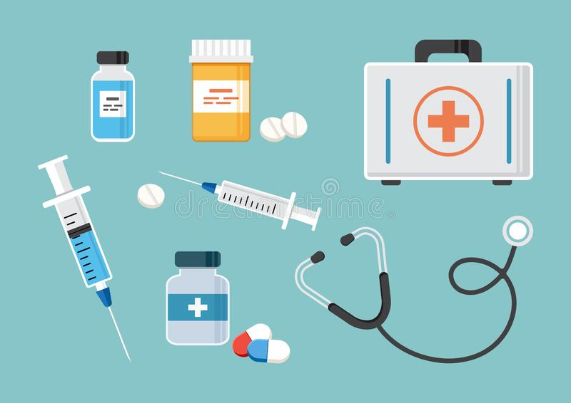 First aid kit, stethoscope, and syringe for injection with blue vaccine, vial of medicine, empty syringe, and medicine bottles and stock illustration