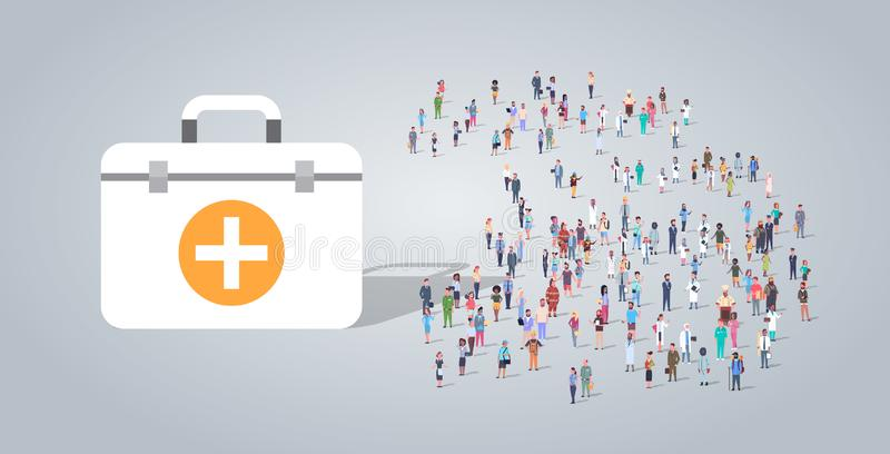 Medicine first aids kit near people group different occupation employees mix race workers crowd healthcare concept royalty free illustration