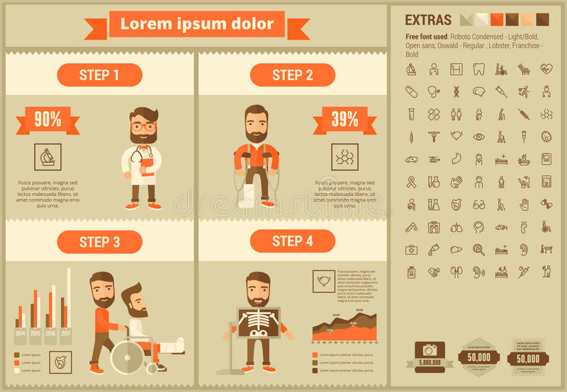 Medicine flat design Infographic Template royalty free illustration