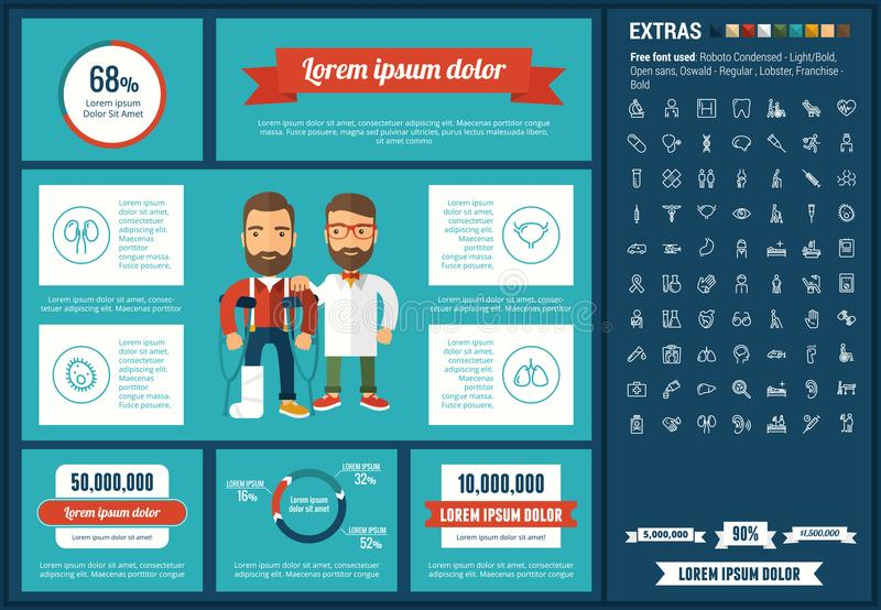 Medicine flat design Infographic Template. Medicine infographic template and elements. The template includes illustrations of hipster men and huge awesome set of royalty free illustration