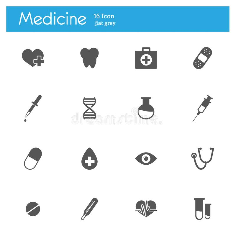 Medicine flat gray icons set of 16 vector illustration