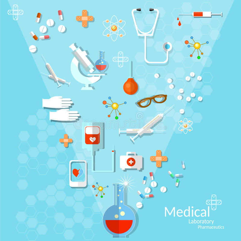 Free Medicine Flat Health Care And Medical Instruments Background Stock Image - 61574241