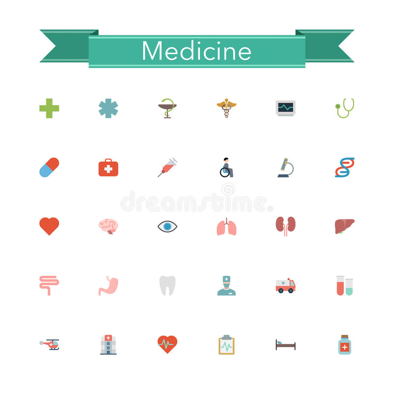 Download Medicine Flat Icons stock vector. Illustration of microscope - 58903667