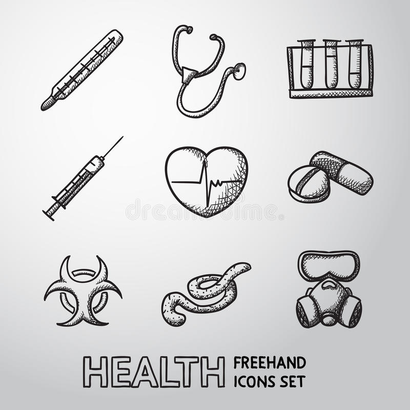 Medicine and health care colorful freehand icons vector illustration