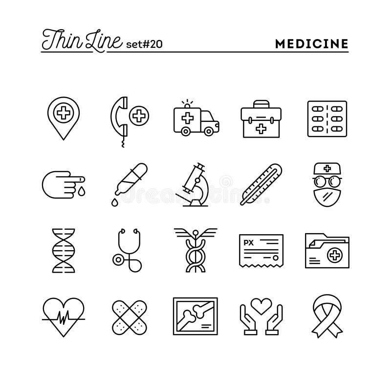 Medicine, health care, emergency, pharmacology and more, thin li. Ne icons set, vector illustration vector illustration