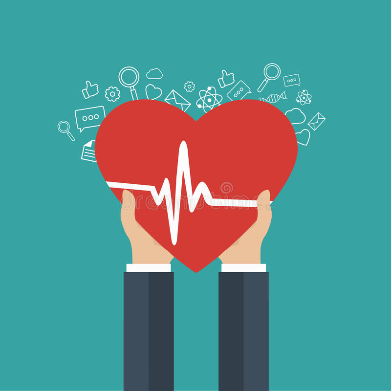 Medicine and health care icon. Hands holding heart with pulse sign stock illustration