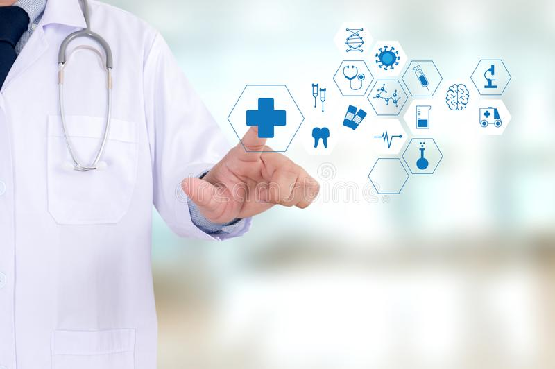 Medicine health care professional doctor hand working with mode. Rn computer interface technology royalty free stock photos