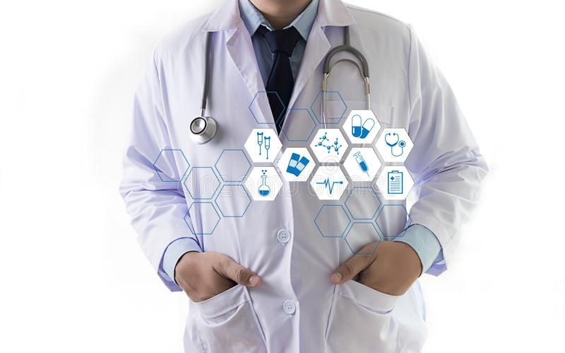 Medicine health care professional doctor hand working with mode. Rn computer interface technology stock image
