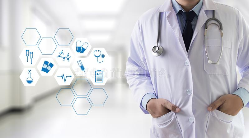 Medicine health care professional doctor hand working with mode. Rn computer interface technology stock photography