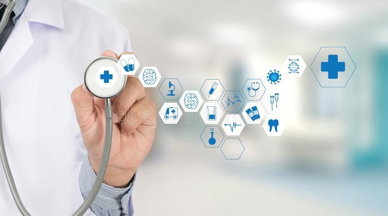 Medicine health care professional doctor hand working with mode. Rn computer interface technology royalty free stock image