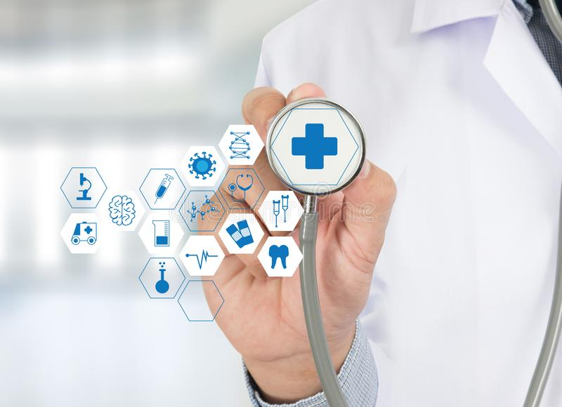 Medicine health care professional doctor hand working with mode. Rn computer interface technology royalty free stock images