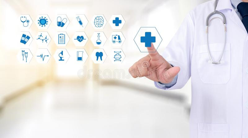 Medicine health care professional doctor hand working with mode. Rn computer interface technology royalty free stock photography