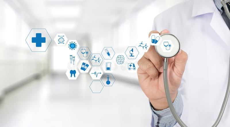 Medicine health care professional doctor hand working with mode. Rn computer interface technology stock images
