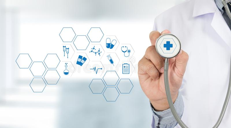 Medicine health care professional doctor hand working with mode. Rn computer interface technology stock photo