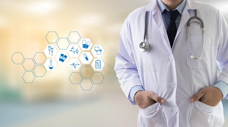 Medicine health care professional doctor hand working with mode. Rn computer interface technology royalty free stock photo