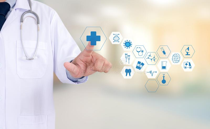 Medicine health care professional doctor hand working with mode. Rn computer interface technology stock photos