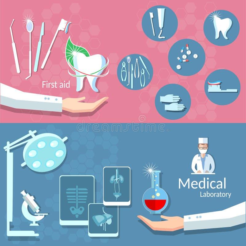 Medicine health dentistry dental treatment care banners royalty free illustration