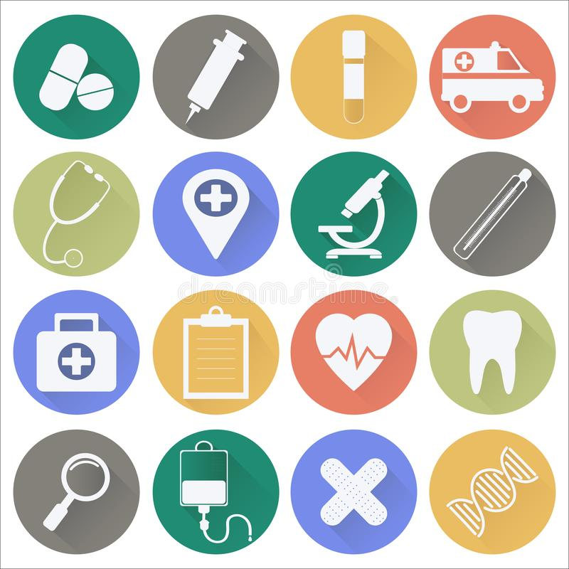 Medicine and Health. Flat icon stock images