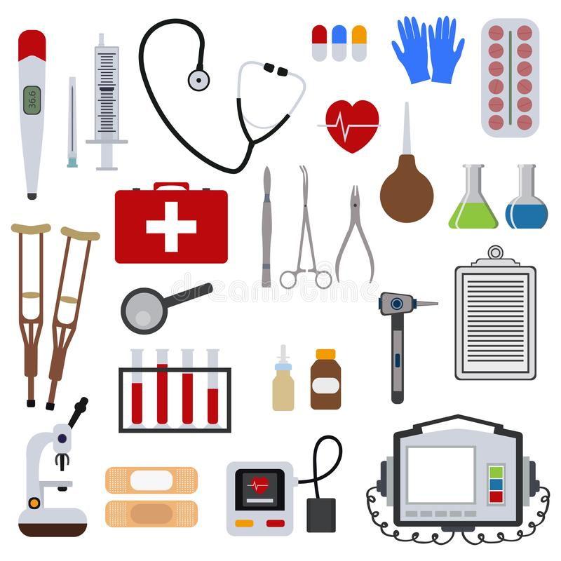 Medicine and health tools medical hospital human service operation healthy care first aid kit vector illustration. Professional laboratory work pharmacy vector illustration