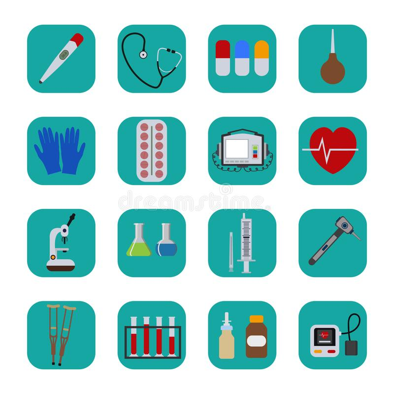 Medicine and health tools medical hospital human service operation healthy care first aid kit vector illustration. Professional laboratory work pharmacy royalty free illustration