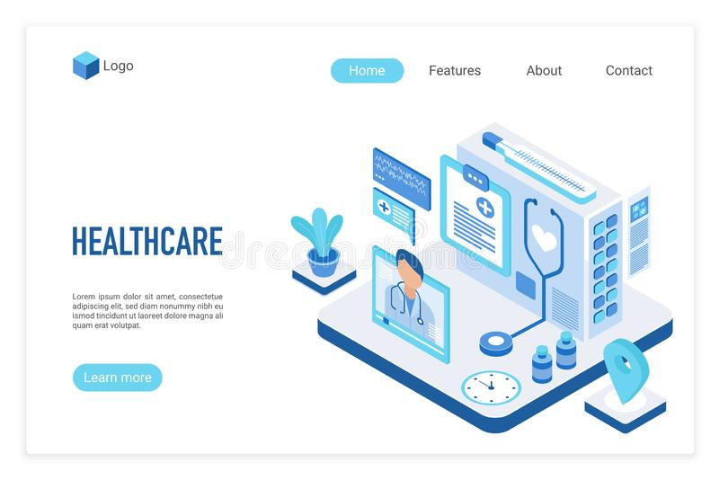 Medicine and healthcare isometric landing page vector template royalty free illustration