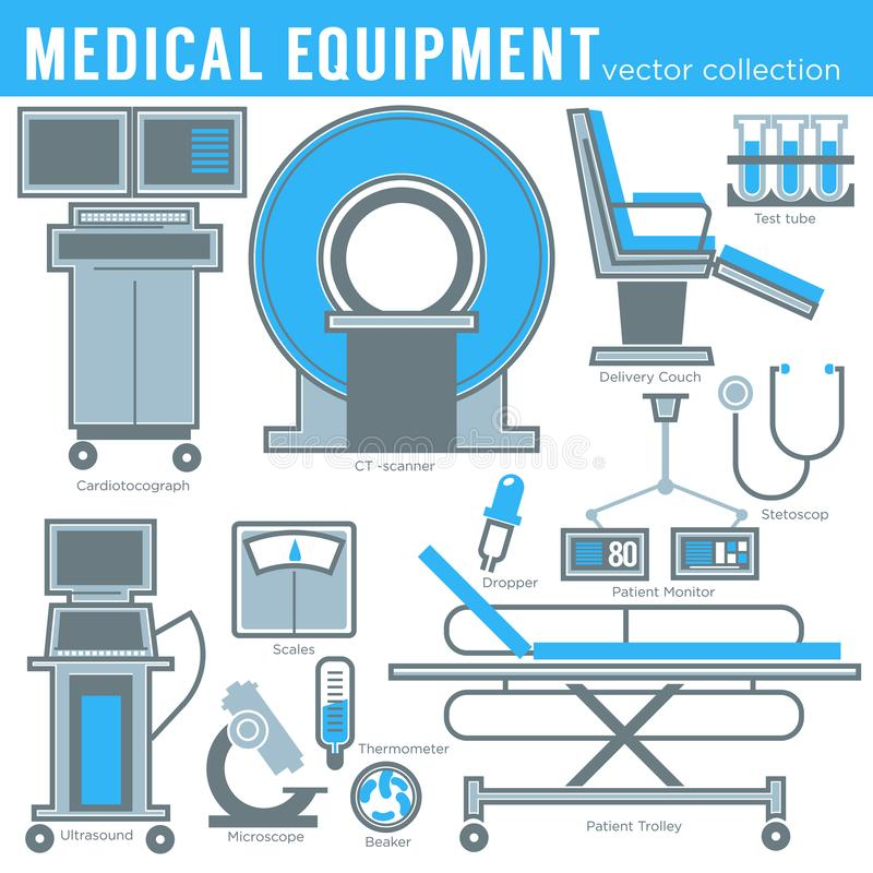 Medicine and healthcare medical equipment tools and technology isolated objects vector MRI and gurney or examination royalty free illustration