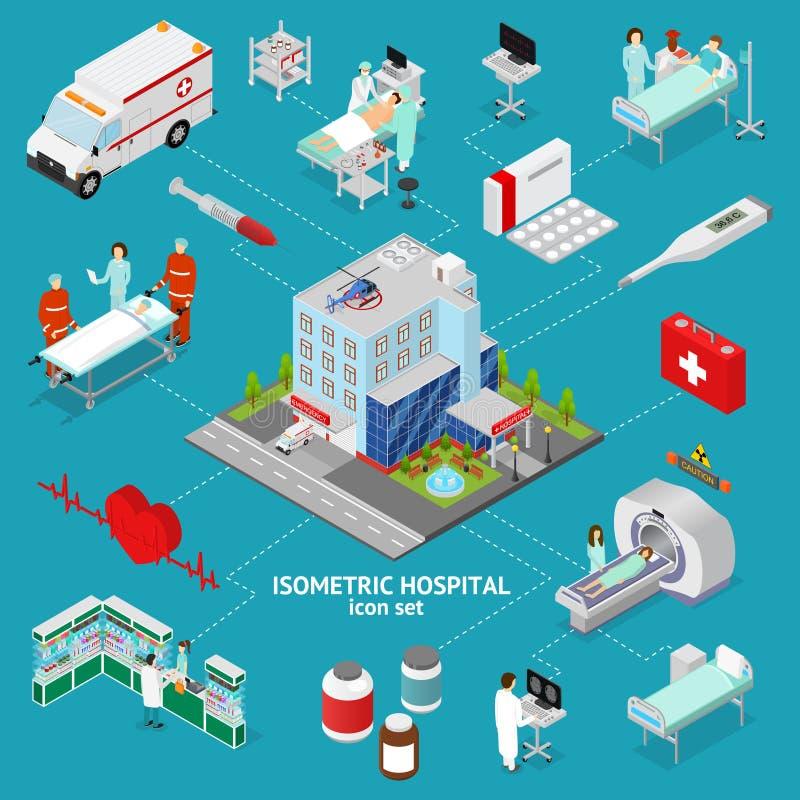 Medicine Hospital Concept Isometric View. Vector vector illustration