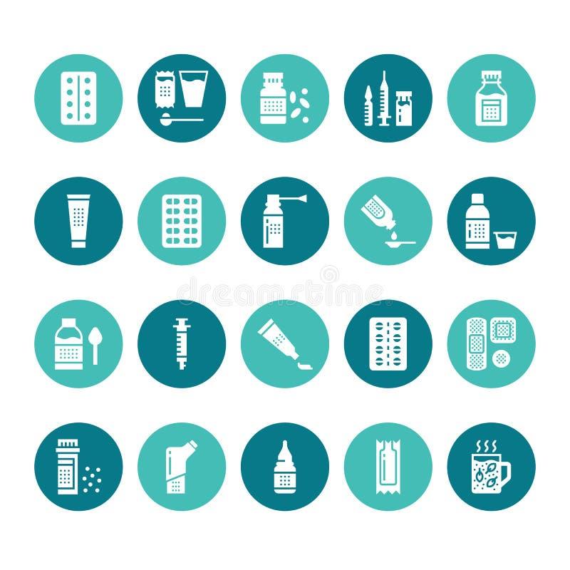 Medicine, icone di glifo delle forme di dosaggio Farmacia, compressa, capsule, pillole, antibiotici, vitamine, antidolorifici med royalty illustrazione gratis