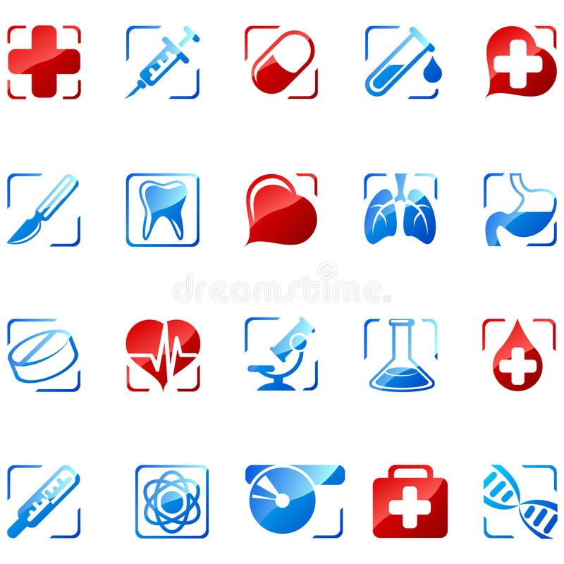 Medicine icons. Set 1. Isolated on white. EPS available
