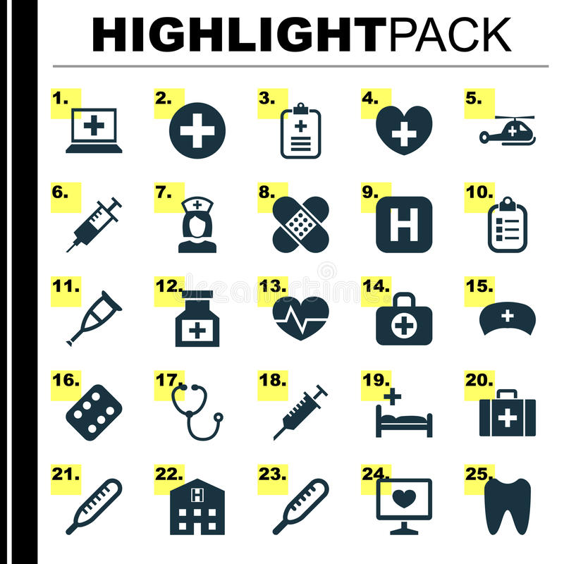 Medicine Icons Set. Collection Of Spike, Hospital, Mark And Other Elements. Also Includes Symbols Such As Heal, Analyzes royalty free illustration