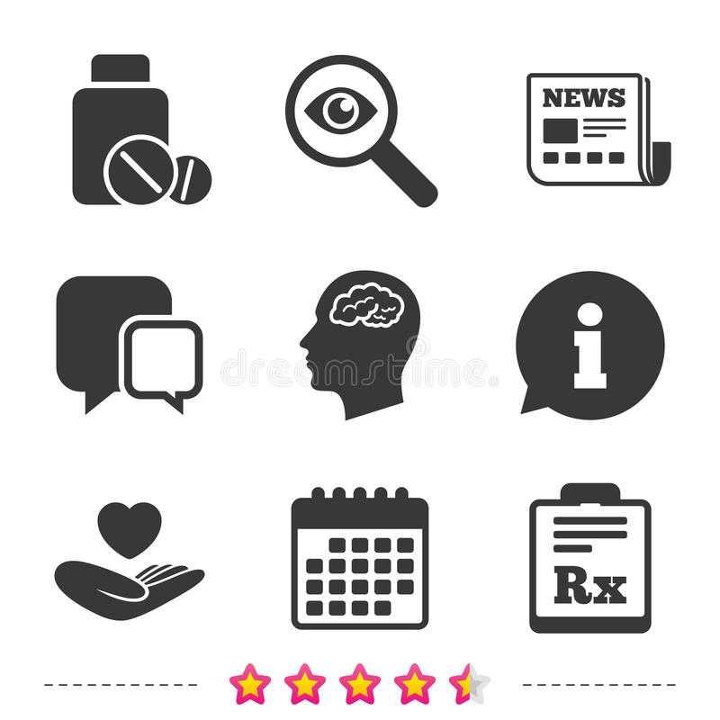 Medicine Icons Tablets Bottle Brain Rx Stock Vector