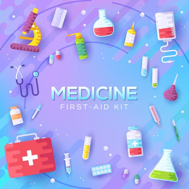 Medicine information background. Medical clinical infographic concept background. Layout illustrations modern pages stock illustration