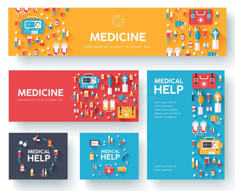 Medicine information cards set. Medical template of flyear, magazines, posters, book cover. Clinical infographic concept on vector illustration