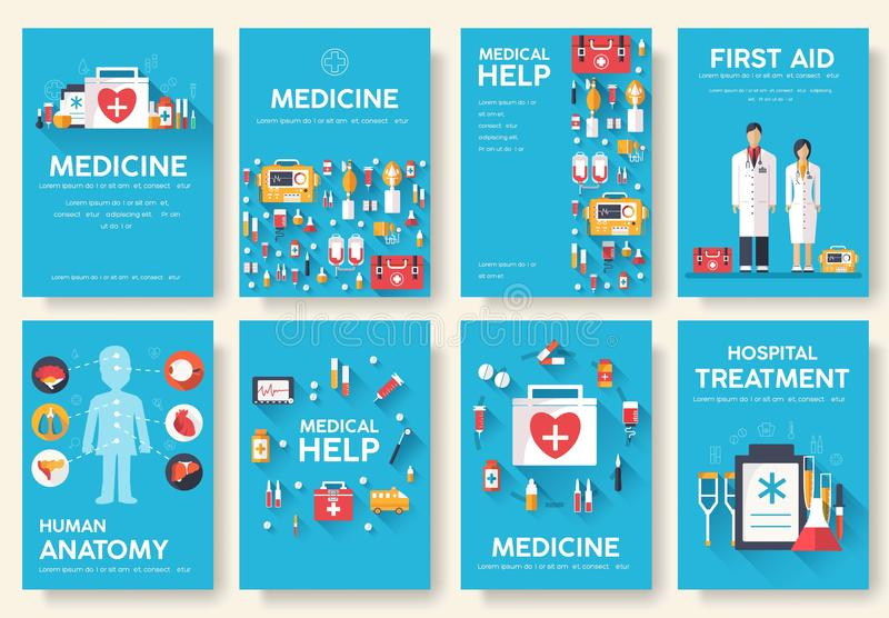 Medicine information cards set. Medical template of flyear, magazines, posters, book cover. Clinical infographic concept on blue vector illustration