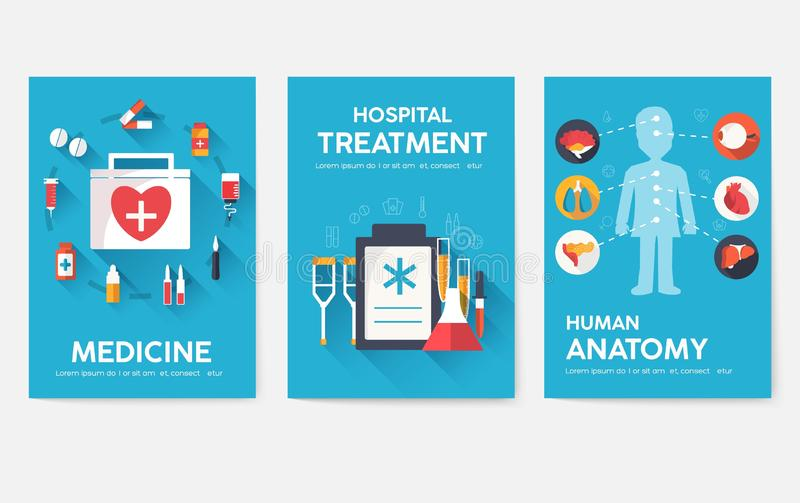 Medicine information cards set. Medical template of flyear, magazines, posters, book cover. Clinical infographic concept stock illustration
