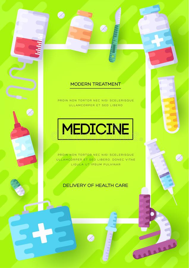 Medicine information cards set. Medical template of flyer, magazines, posters, book cover, banners. Clinical infographic royalty free illustration