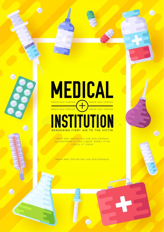 Medicine information cards set. Medical template of flyer, magazines, posters, book cover, banners. Clinical infographic stock illustration