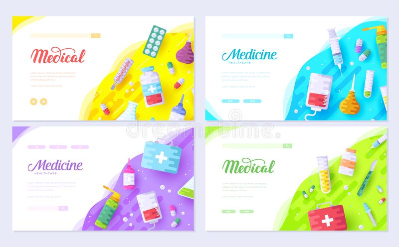 Medicine information. Medical brochure card set. Clinical template of flyear, web banner, ui header, enter site. Layout vector illustration