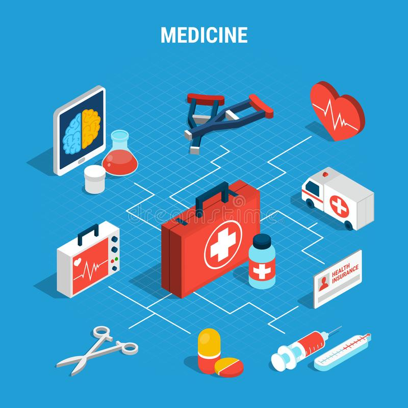 Medicine Isometric Flowchart. With various medical objects on blue background 3d vector illustration vector illustration
