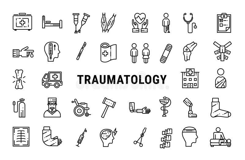 Traumatology outline web icon set royalty free stock images
