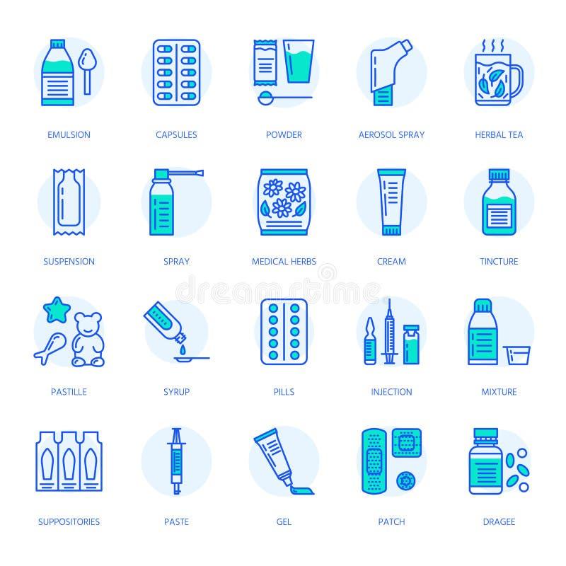 Medicine, linea icone delle forme di dosaggio Medicinali della farmacia, compressa, capsule, pillole, antibiotici, vitamina, anti royalty illustrazione gratis