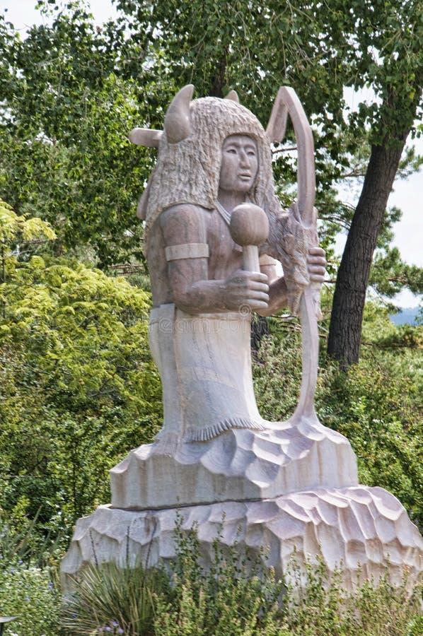 Medicine Man Sculpture in Santa Fe New Mexico USA stock photo