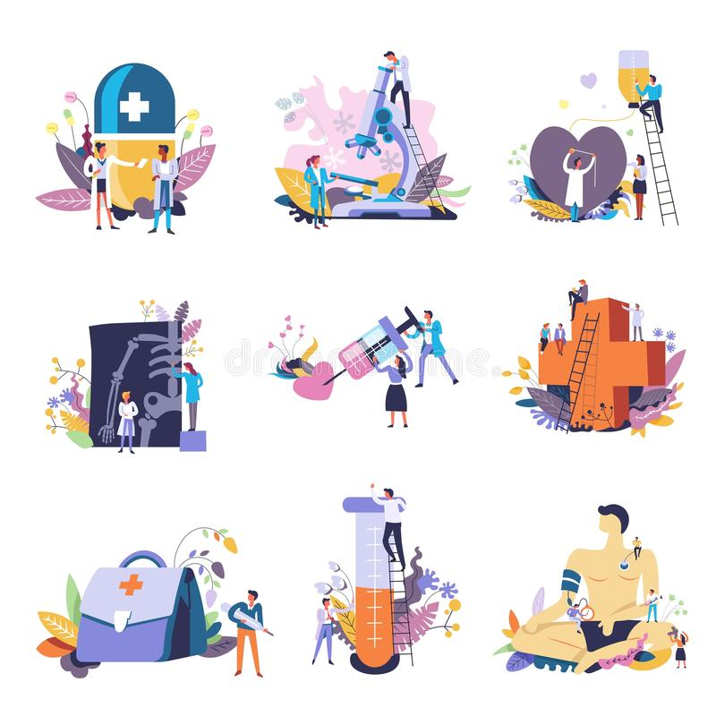 Medicine and medical conceptual icons. Vector small people doctors with big syringe. Pharmacy cross or X-ray and first aid, pill or microscope for heart stock illustration