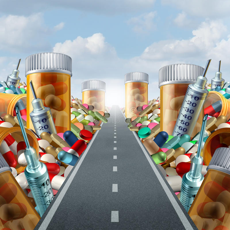 Medicine And Medication Concept. As a group of pills and prescription drugs on a road to a light as a health care metaphor for medicinal medical treatment vector illustration