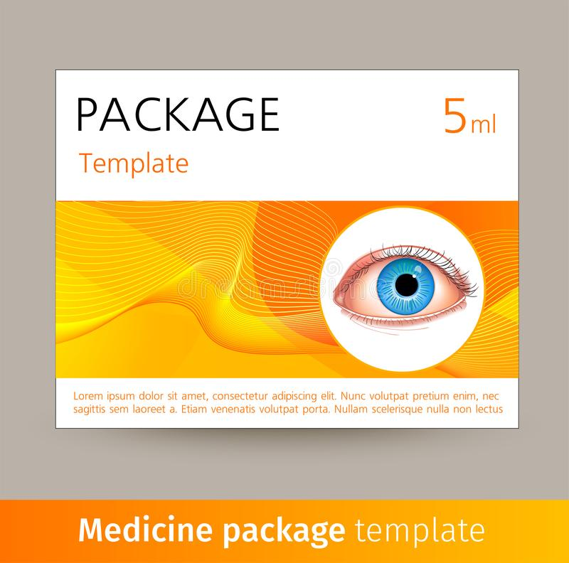 Vector Medicine Package Template With Realistic Eye  Box
