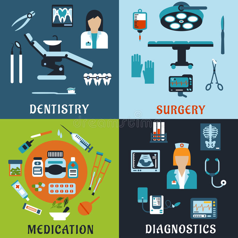 Medicine and pharmacology flat icons. Dentistry, surgery, diagnostic medicine and pharmacology flat icons. Dentist and therapist, doctor, medical equipment stock illustration