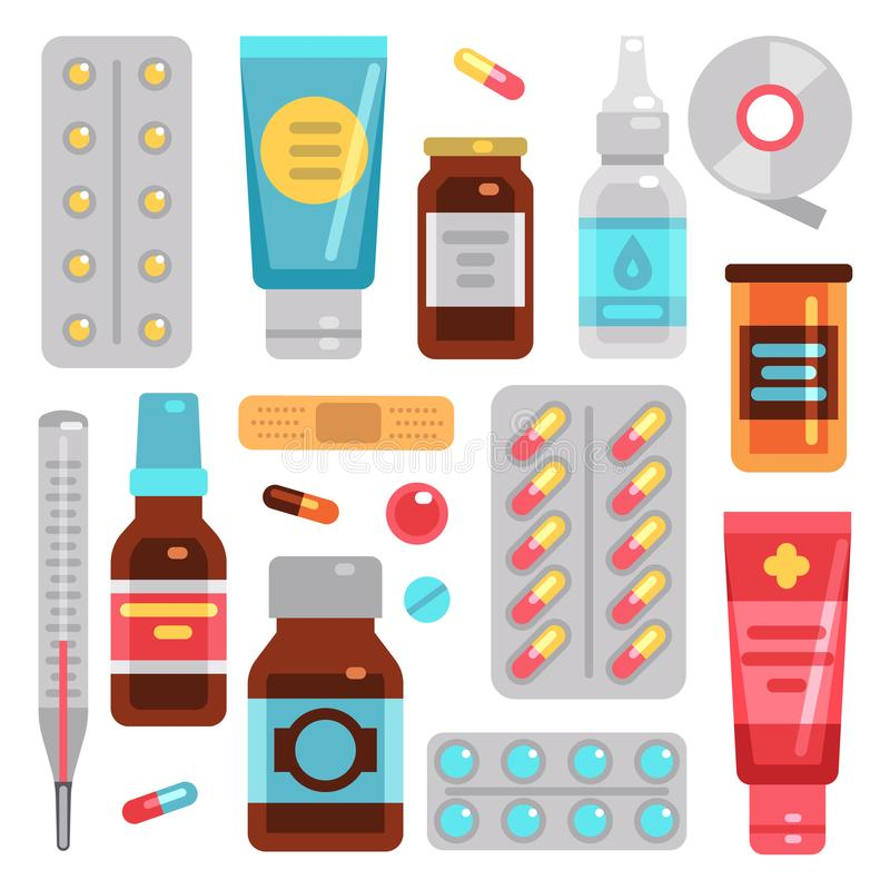 Medicine pharmacy drugs, pills, medicament bottles and medical equipment vector flat icons vector illustration