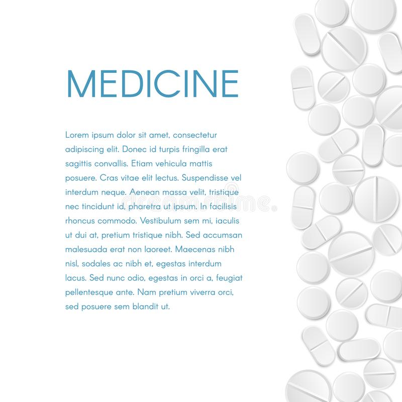 Medicine Pills Border Background. The scattered white round tablets from the right and text banner. Vector Design EPS 10. Medicine Pills Border Background. The stock illustration